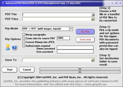Capture d'écran Advanced PDF2Word (PDF to RTF)