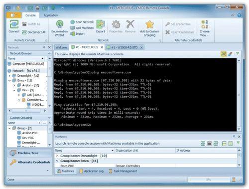 Capture d'écran EMCO Remote Console