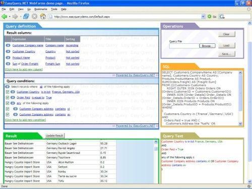 Capture d'écran EasyQuery.NET WPF