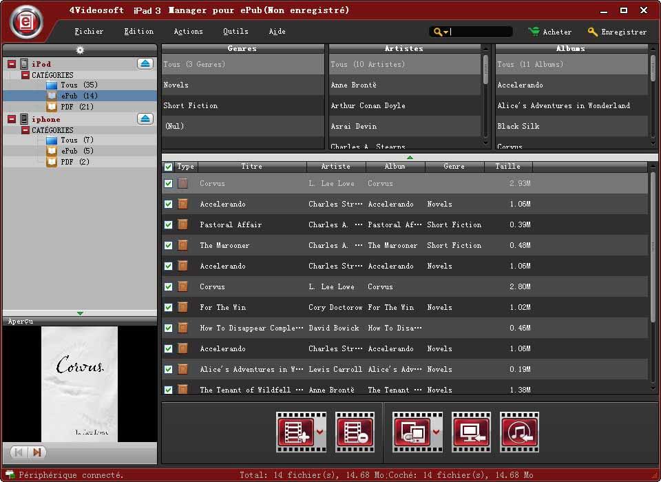 Capture d'écran 4Videosoft iPad 3 Manager pour ePub
