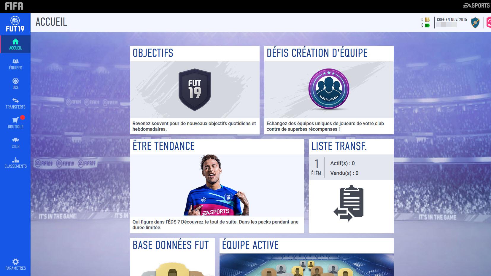 Capture d'écran FIFA 19 Companion Web App
