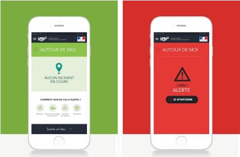 Capture d'écran SAIP (Système d'alerte et d'information des populations) iOS