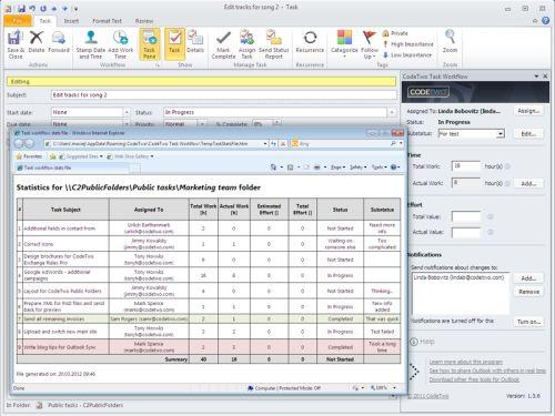 Capture d'écran CodeTwo Task Workflow