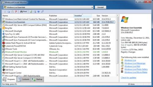 Capture d'écran Mirekusoft Install Monitor