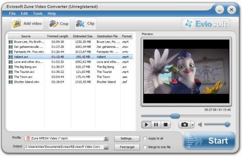 Capture d'écran Eviosoft Zune Video Converter