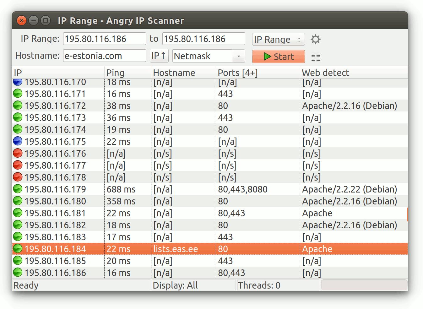 Capture d'écran Angry IP Scanner Linux