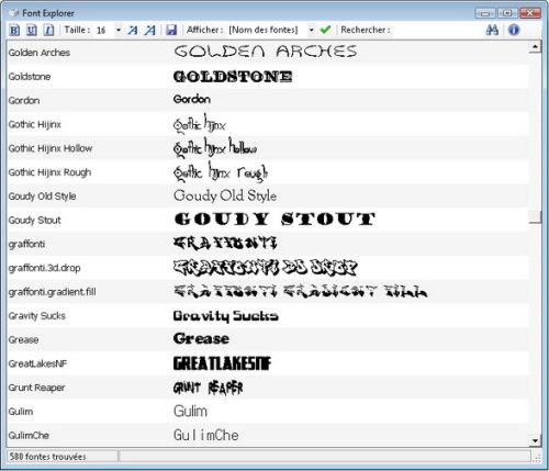 Capture d'écran Font Explorer
