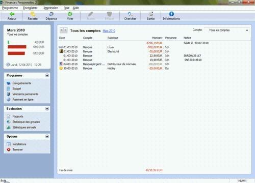 Capture d'écran Softwarenetz finances personelles
