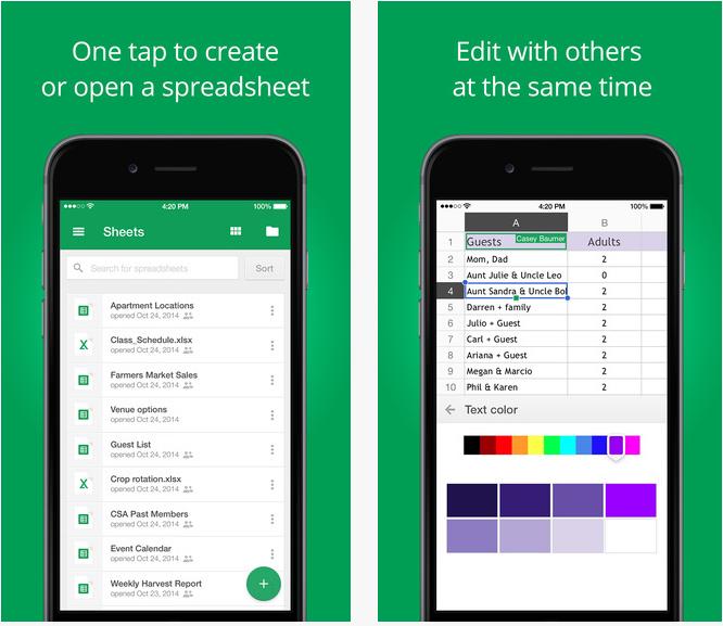Capture d'écran Google Sheets iOS