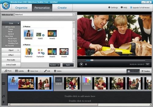 Capture d'écran Wondershare DVD Slideshow Builder Free