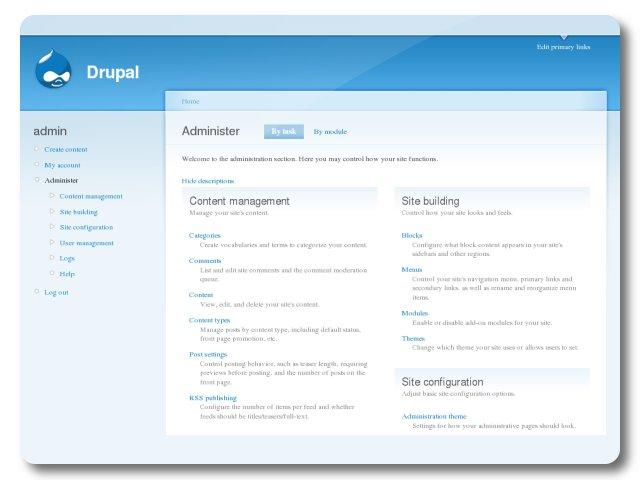 Capture d'écran Drupal