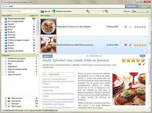 Capture d'écran Le collectionneur de recettes