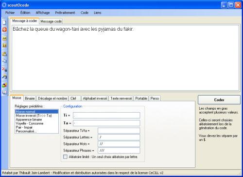Capture d'écran scoutOcode