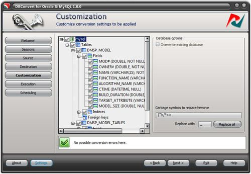 Capture d'écran DBConvert for Oracle and MySQL