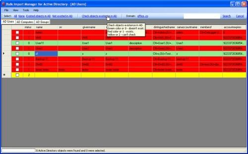 Capture d'écran Algoware Active Directory Bulk Import