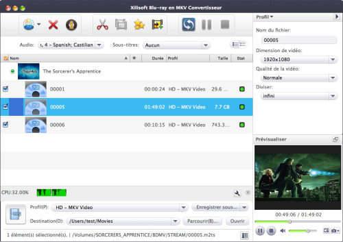 Capture d'écran Xilisoft Blu-Ray en MKV Convertisseur pour Mac