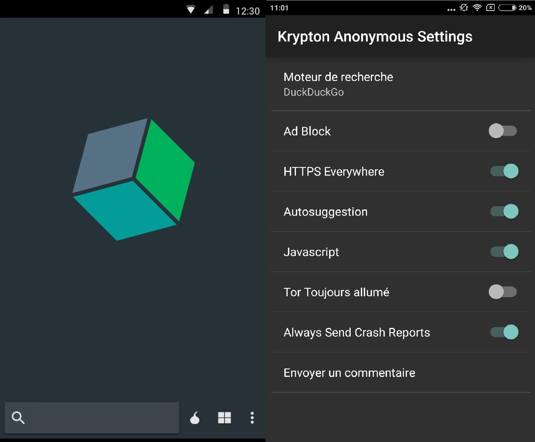 Capture d'écran Krypton Anonymous Browser Android