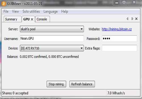 Capture d'écran GUIMiner