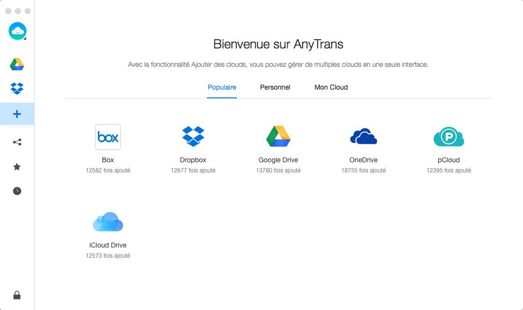 Capture d'écran AnyTrans pour Cloud (pour Mac)