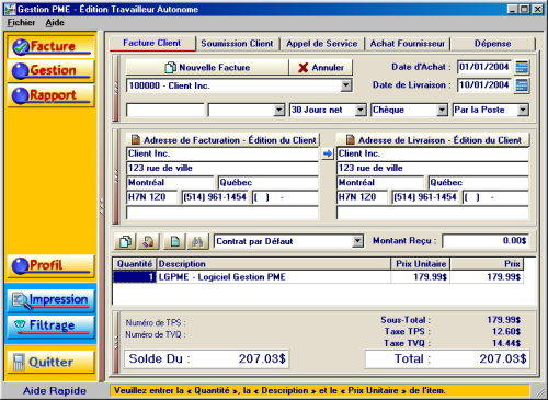 Capture d'écran Gestion PME – Facturation