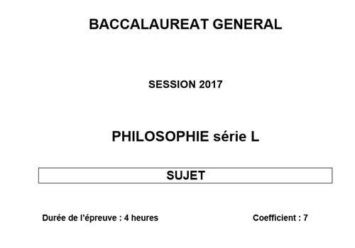Capture d'écran Bac 2017 Philosophie – Série L