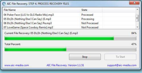Capture d'écran AIC File Recovery
