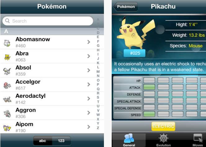 Capture d'écran Pokemon Pokedex