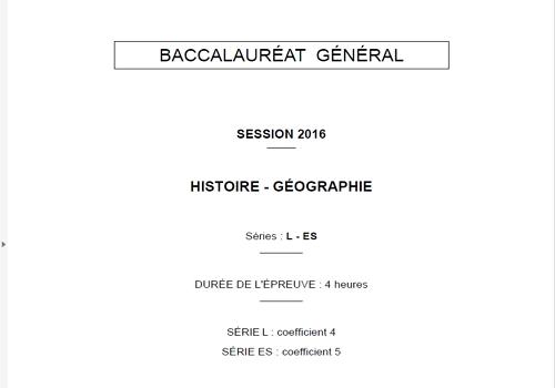 Capture d'écran Bac Histoire-Géographie 2016 Séries L et ES Pondichéry