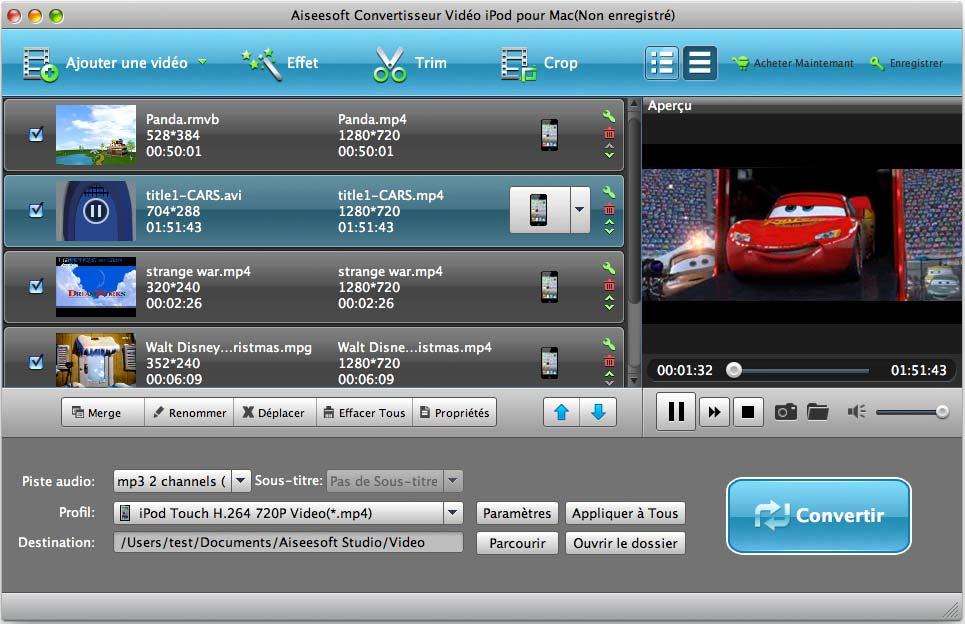 Capture d'écran Aiseesoft Convertisseur Vidéo iPod pour Mac