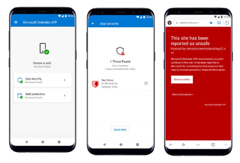 Capture d'écran Microsoft Defender ATP Android