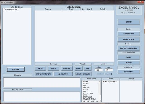 Capture d'écran Excel-Mysql