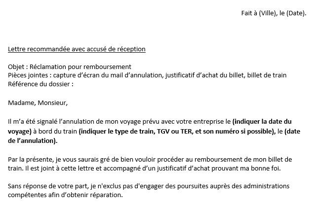 Capture d'écran Lettre de réclamation SNCF (remboursement) 2019