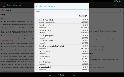 Capture d'écran Dictionnaires hors ligne