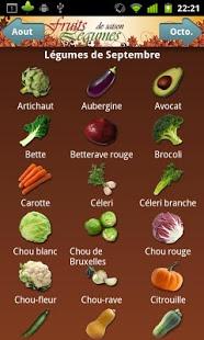 Capture d'écran Fruits et Légumes de Saison
