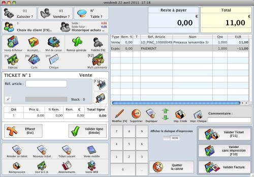 Capture d'écran KinTPV, logiciel de caisse Mac