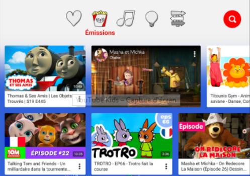 Capture d'écran YouTube Kids iOS