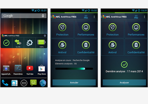 Capture d'écran AVG Antivirus Gratuit Android