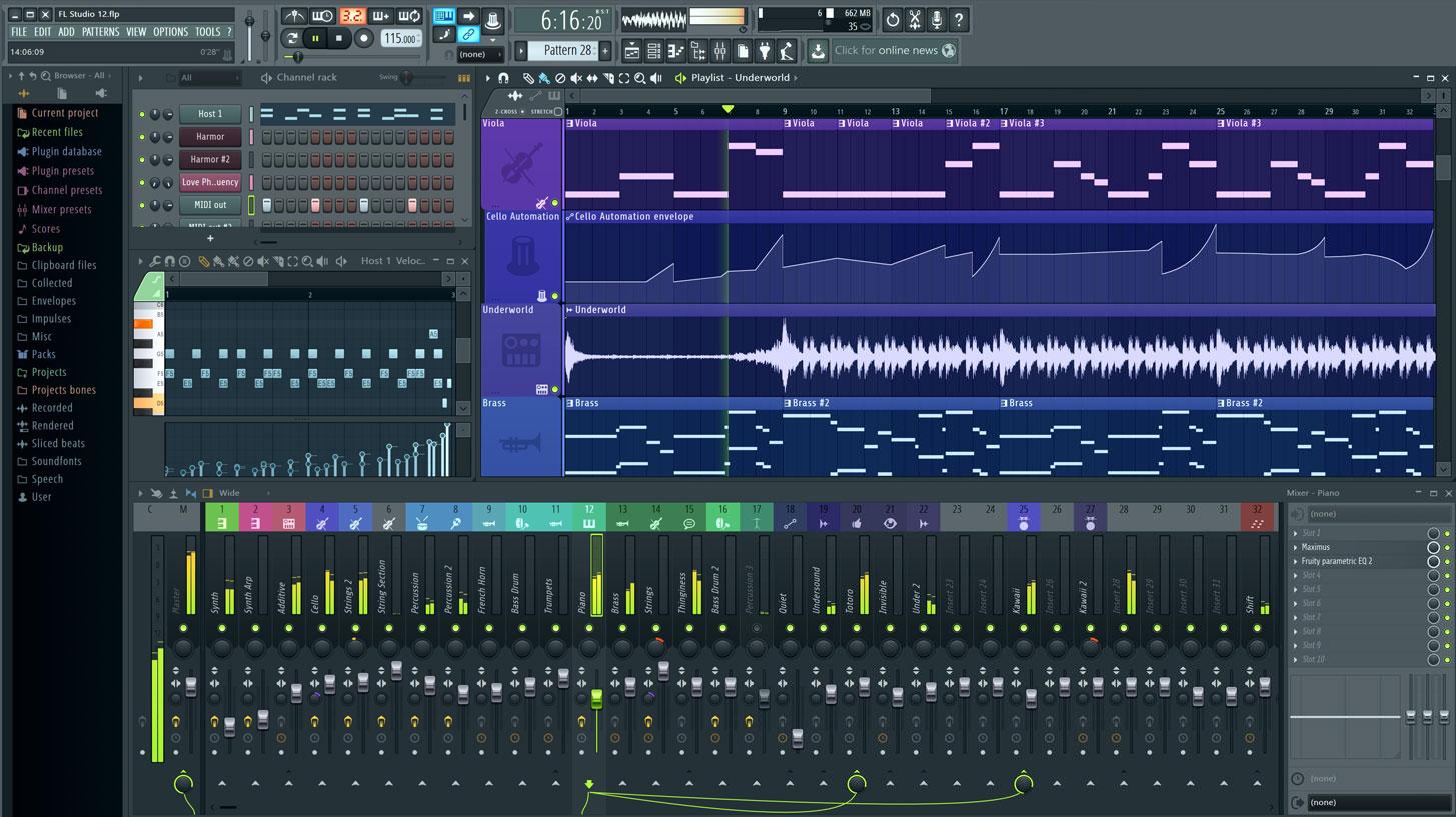 Capture d'écran FL Studio 20 Mac