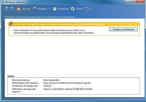 Capture d'écran Windows Defender