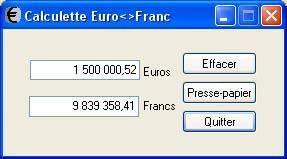 Capture d'écran CalculEuro-Franc Belge & Luxembourgeois