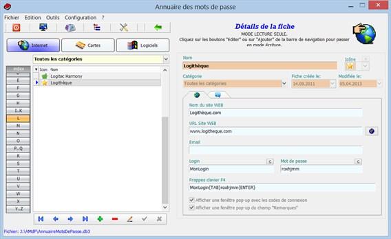 Capture d'écran AnnuaireMotsDePasse