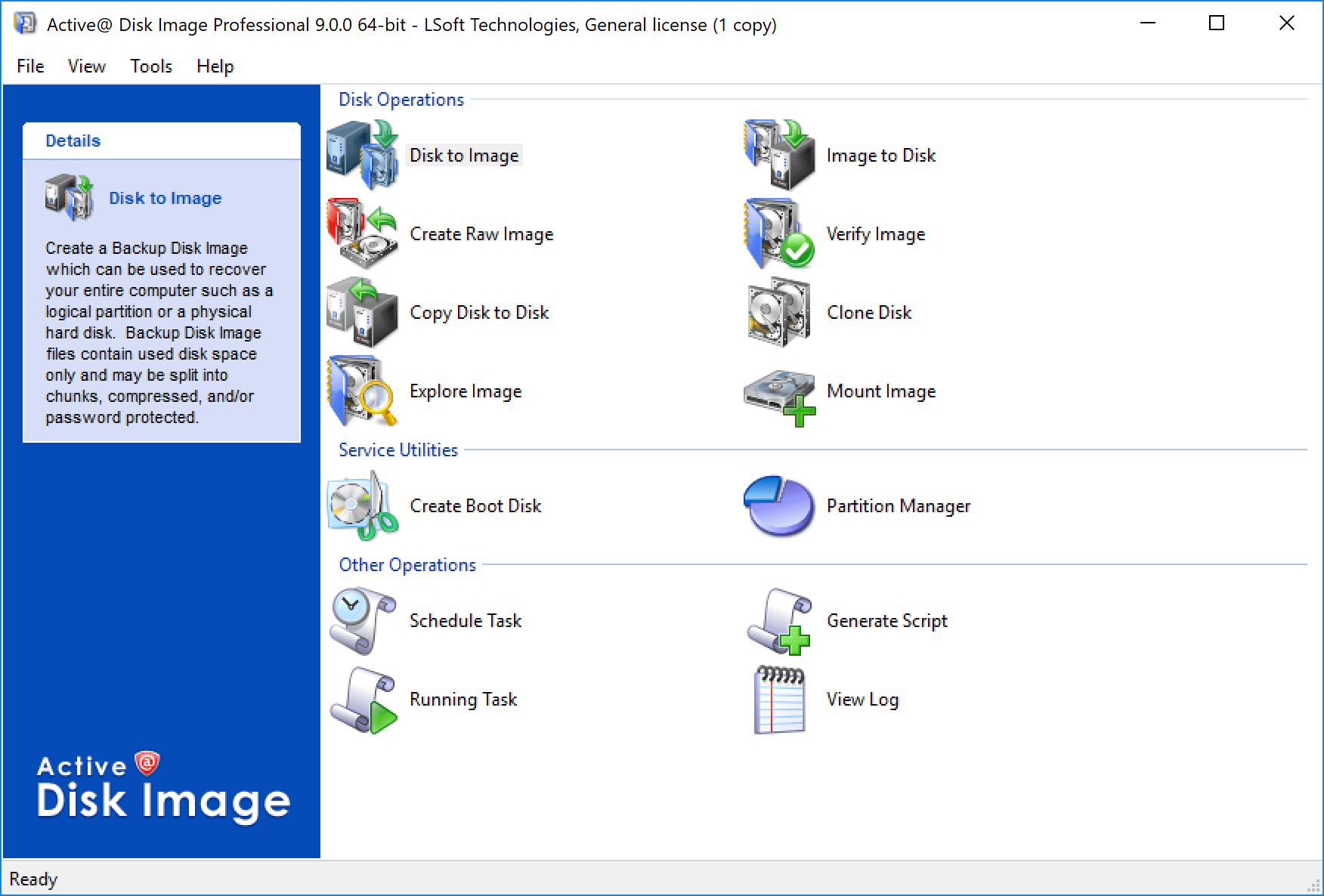 Capture d'écran Active@ Disk Image