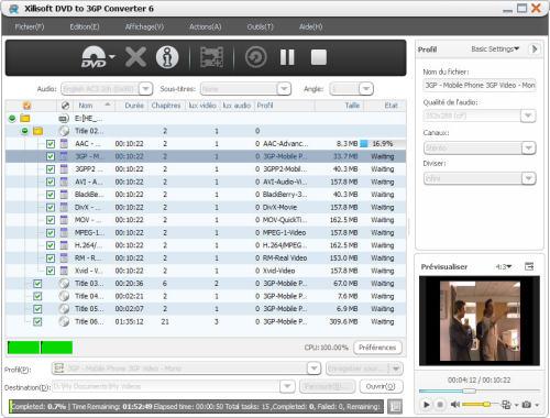 Capture d'écran Xilisoft DVD en 3GP Convertisseur