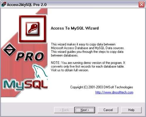 Capture d'écran Access2MySQL Pro