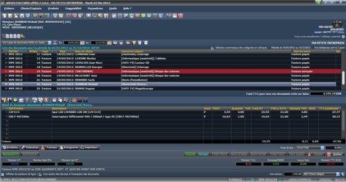 Capture d'écran sDEVIS-FACTURES vlPRO 2012