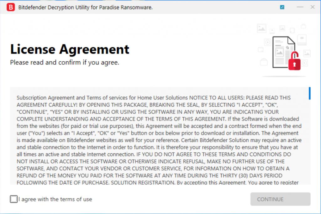 Capture d'écran Bitdefender Paradise Ransomware Decryption Tool