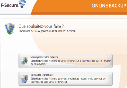Capture d'écran F-Secure Online Backup