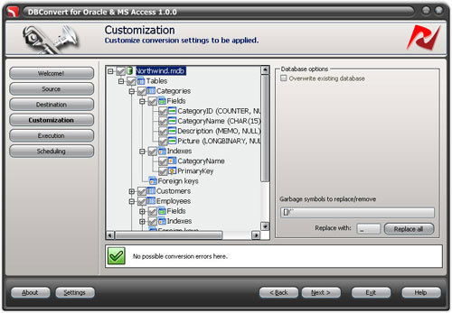 Capture d'écran DBConvert for Oracle and Access