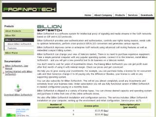 Capture d'écran Billion Softswitch