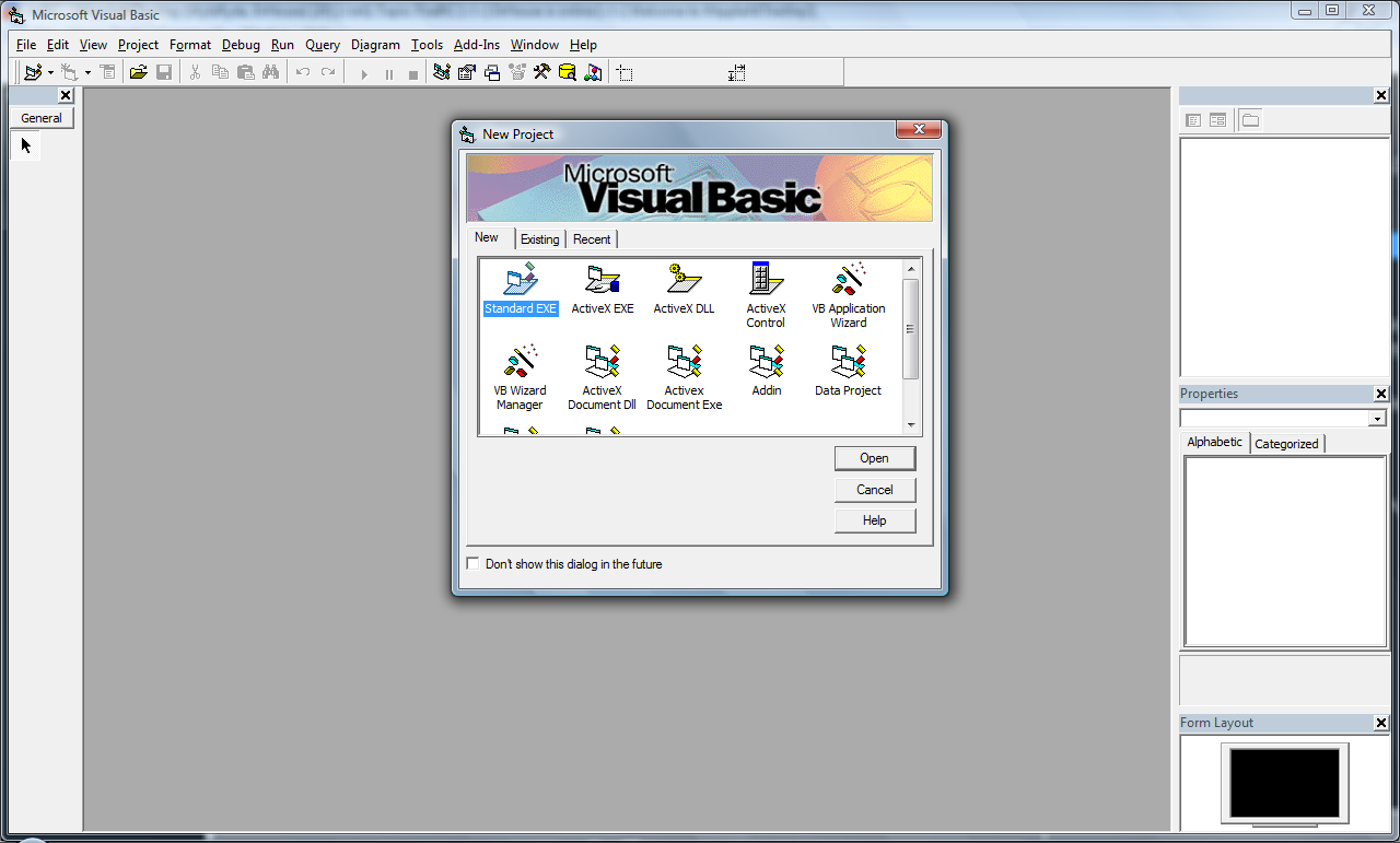 Capture d'écran Visual Basic